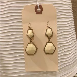 Off white and gold dangle earrings